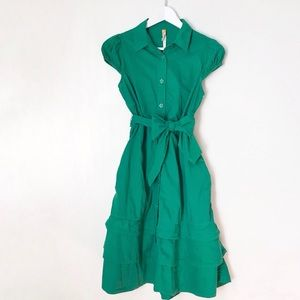 Anthropologie Maeve Kelly Green Button Dress